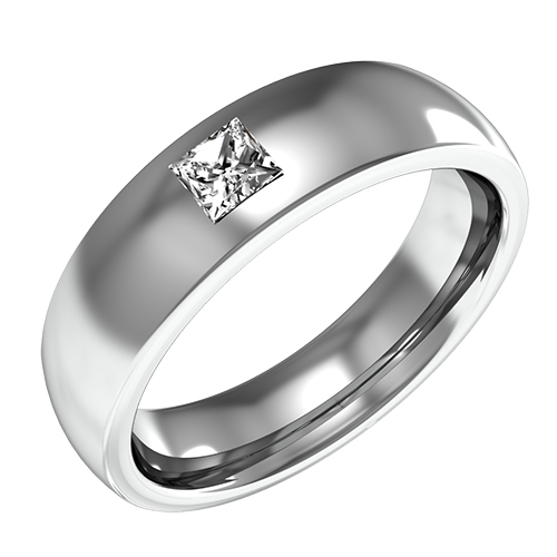 An Elegant Mens Courted Wedding Ring With A Single Stone Princess Cut Diamond In 9ct White Gold