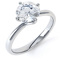 An exquisite single stone diamond engagement ring in 18ct white gold