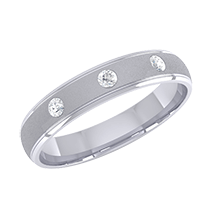 A stunning mens courted wedding ring with three round brilliant cut diamond in platinum 950
