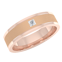 A striking flat courted mens wedding ring with a princess cut diamond in 18ct rose gold