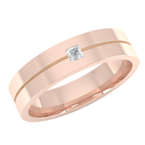 A sleek flat courted mens wedding ring with a princess cut diamond in 18ct rose gold