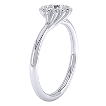 A sensational cluster engagement ring with a dazzling round brilliant cut diamond in 18ct white gold