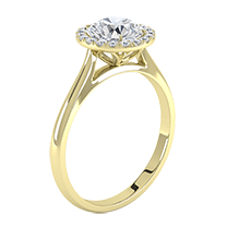 An exquisite cluster engagement ring with a breathtaking round brilliant cut diamond in 18ct yellow gold