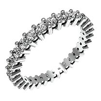 A fabulous full eternity diamond ring in 18ct white gold with round brilliant cut diamonds in claw setting