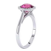 An exquisite pink sapphire and diamonds cluster ring in 18ct white gold