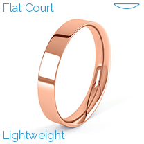 A stylish flat courted mens wedding ring in lightweight 9ct rose gold