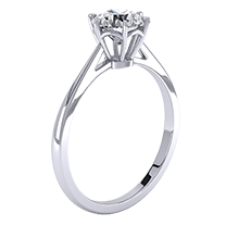 A fabulous single stone engagement ring in 18ct white gold with a shiny round brilliant cut diamond in a six claw setting