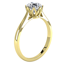 A contemporary single stone round brilliant cut engagement ring in 18ct yellow gold