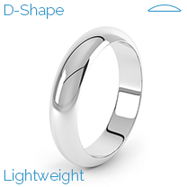 A classic mens D-Shape wedding ring in lightweight 18ct white gold