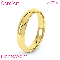 A stunning ladies comfort fit wedding ring in lightweight 9ct yellow gold